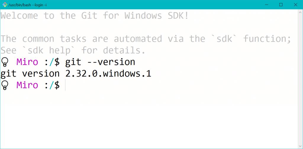 Git Inštalácia SDK Bash Login