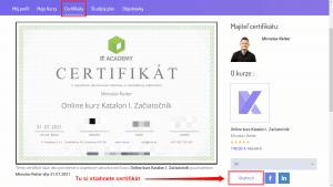 Stiahnutie online certifikátu SK a EN jazyk