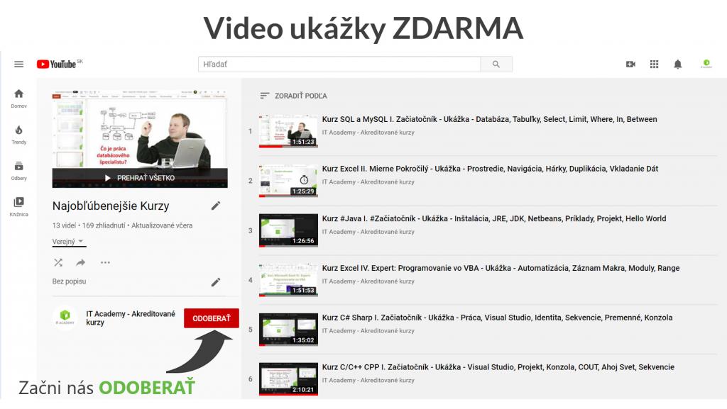 YouTube Kanál Video Ukážky